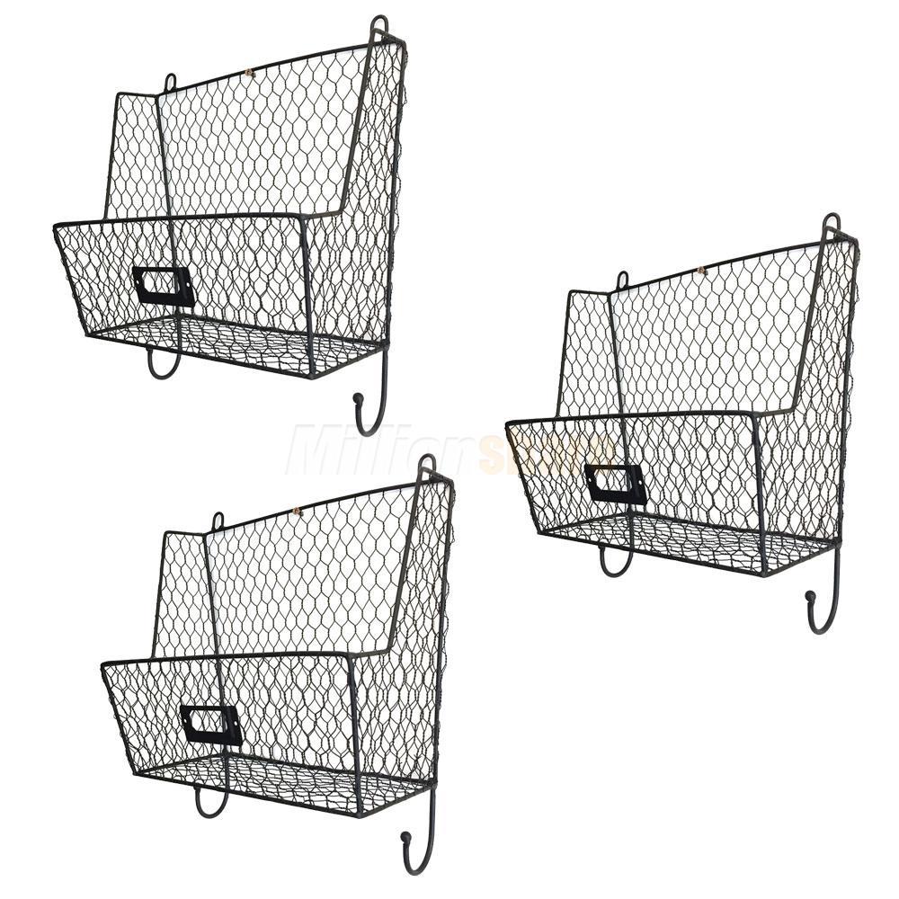 Metal Wire 3Tiers Key Mail Basket Holder Wall Mount Bin