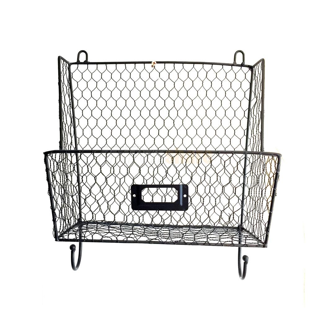 Metal Wire 3Tiers Key Mail Basket Holder Wall Mount Bin