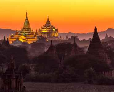 Ananda pagoda at dusk, in the Bagan plain, Myanmar (Burma)