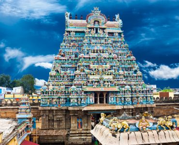 Great South Indian architecture. Sri Ranganathaswamy Temple over blue sky. South India, Tamil Nadu, Thanjavur (Trichy)