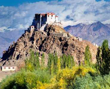 Stakna monastery with view of Himalayan mountians - it is a famous Buddhist temple in,Leh, Ladakh, Jammu and Kashmir, India