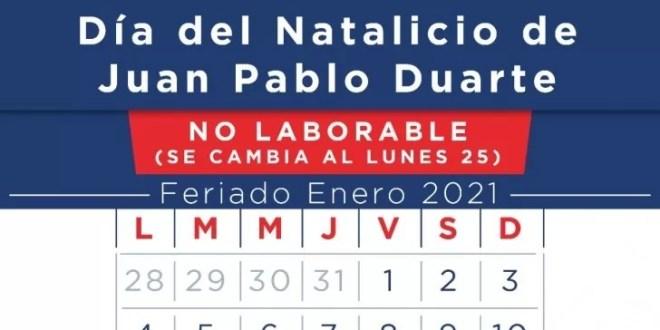 Ministerio de Trabajo informa feriado natalicio Juan Pablo Duarte será el lunes 25