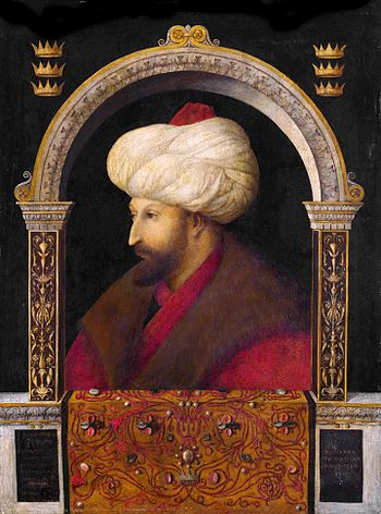 Portrait of Mehmed II by Venetian artist Genti...