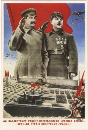 Joseph Stalin and Kliment Voroshilov depicted ...