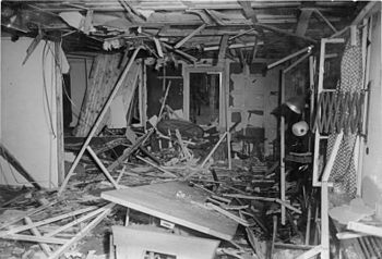 The destroyed 'Wolf's Lair' barracks after the...