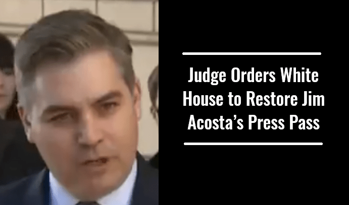 Judge Orders White House to Restore Jim Acosta's Press Pass