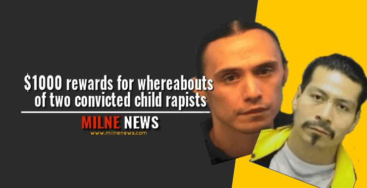 $1000 rewards for whereabouts of two convicted child rapists