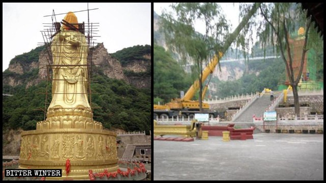 Communist Chinese government destroys Buddhist statues in effort to stamp out religion