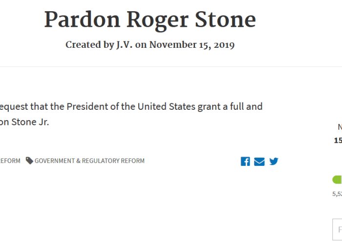 Petition to request President Trump grant Roger Stone a presidential pardon