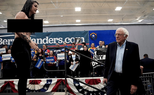 Topless Animal Rights Protesters Disrupt Bernie Sanders Rally and Demand He Drop His Support For Dairy Farmers