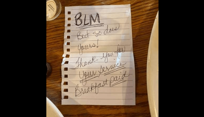 Sheriff's Deputy Thanks 2 Black Women Who left Note and Paid For His Meal: 'BLM but so does yours'