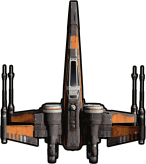 Poe Dameraon T-70 X-WingStar-Wars-The-Force-Awakens-Spacecraft-Cut-Out-with-Transparent-Background_