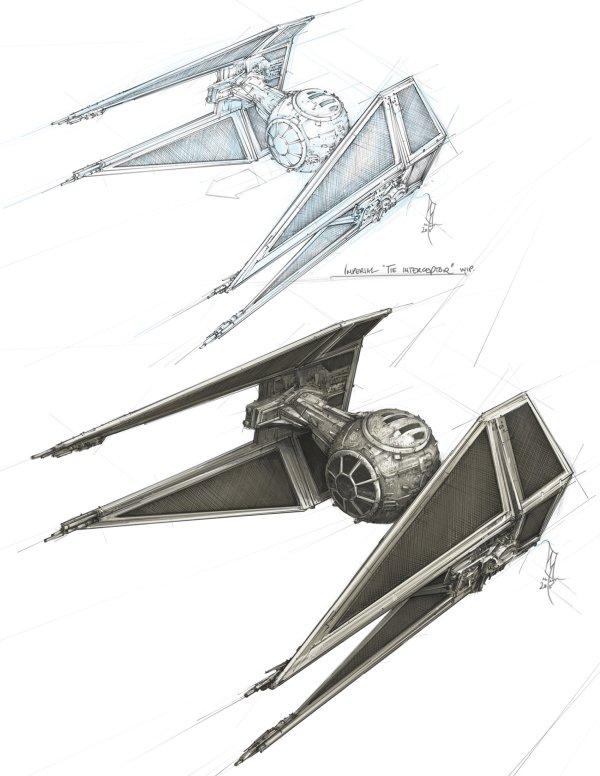 Star Wars Imperial Tie Interceptor Fighter Concept Sketch