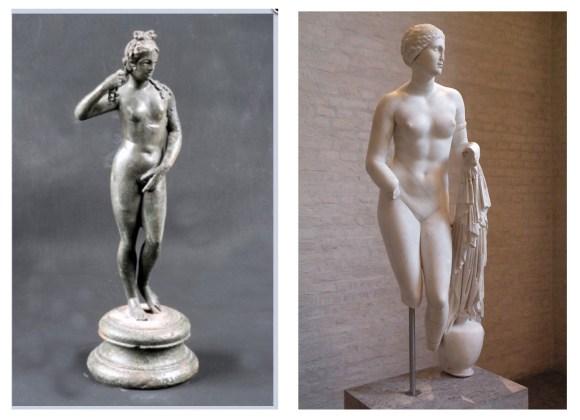 Rimljani su poštovali Veneru kao žensko božanstvo naglašene lepote. Njihova Venera je kopija starije grčke boginje Afrodite. Levo - Statua Venere - Rim, desno - Afrodita iz Cnidusa.