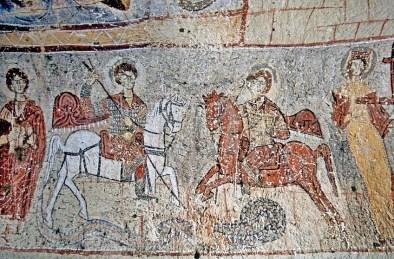 10ti vek, prikaz u crkvi Yılanlı Kilise , Turska. Freska sveti Teodor i Đorđe ubijaju aždaju.
