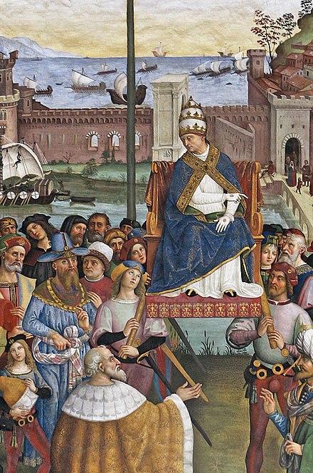 440px Pinturicchio liberia piccolomini 1502 07 circa Pio II giunge ad Ancona per dare inizio alla crociata 01 cropped 2