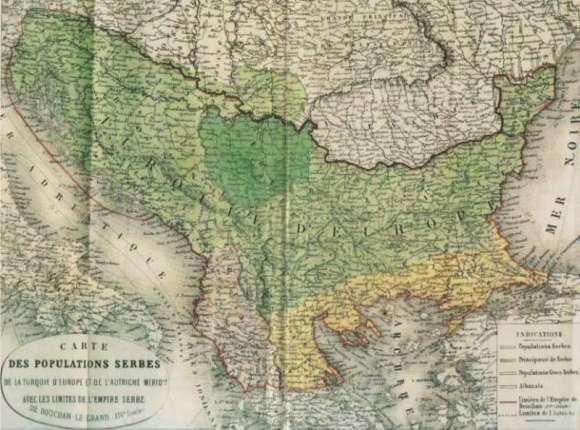 Francuska karta sa granicama Dusanovog carstva i trenutne rasprostranjenosti Srba 830x0 1