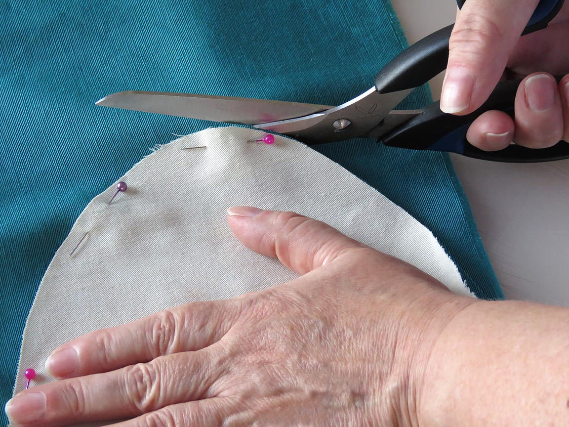 Cutting out espadrille fabric