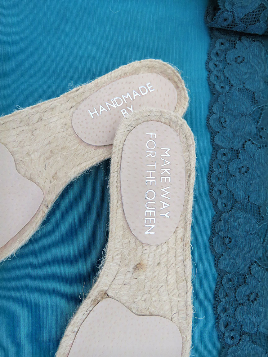 Personalised leather lining on the espadrille soles