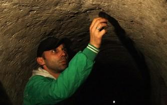 Slavomir Kiš Kišfalubac dodiruje slepog miša.