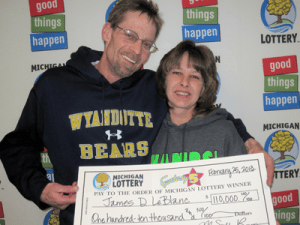 James and Tammy LeBlanc of Wyandotte claiming $110,000 from the 2/22/13 Fantasy 5 drawing