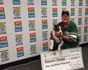 Fantasy 5 Winner Steven Stepp and Dog C.J.