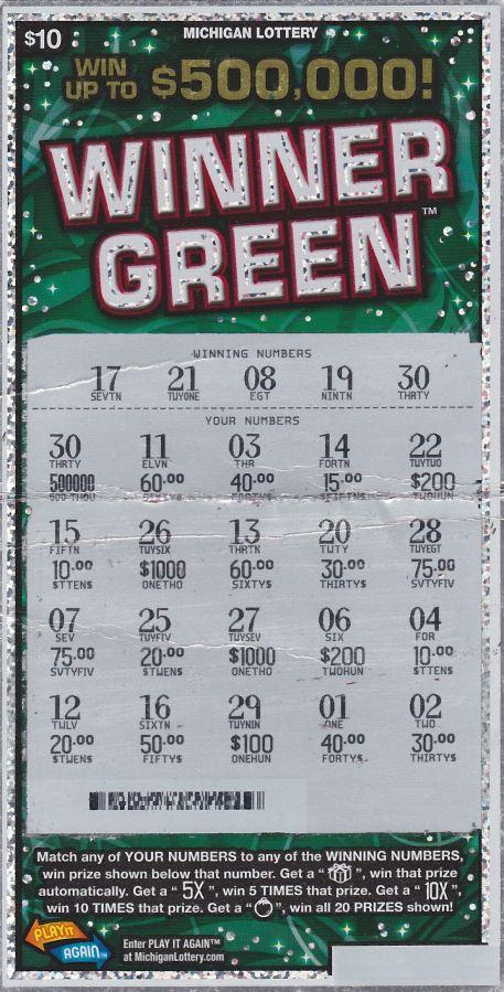Winning Winner Green Ticket
