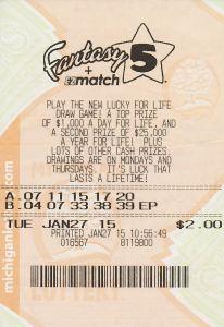 Winning Fantasy 5 Ticket