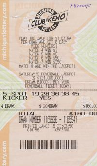 09.10.15 Club Keno 01.03.15 Draw 1165939 $82,000 Anonymous Kalamazoo County