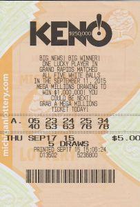 09.25.15 KENO! 09.18.15 250,000 Anonymous Wayne County