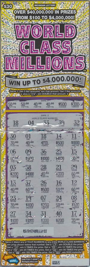 12.07.15 IG #731 World Class Millions $4,000,000 ($2,538,105 Lump Sum) Anonymous Ingham County