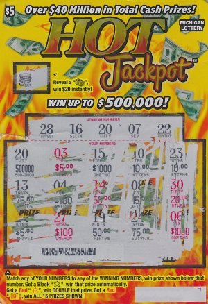 Stephanie Harvell's $500,000 winning ticket.