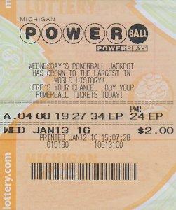 1.15.16 Powerball 01.15.16 Draw $1,000,000 Bart Stimer, Jackson County