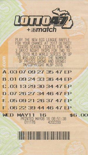 05.16.16 Lotto 47 05.11.16 Draw $2,019,080 (1,281,142 Lump Sum) Anonymous Kalkaska County