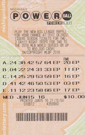 07.20.16 Powerball Draw 06.15.16 $1 Million 23 Dreams Charlevoix County