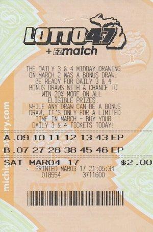 McMurtrie's jackpot-winning Lotto 47 ticket.