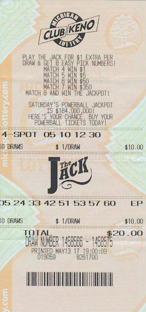 Kurt VanDrus's winning Club Keno The Jack ticket.