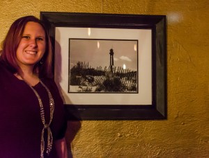 Amanda with a photo of a lighthouse