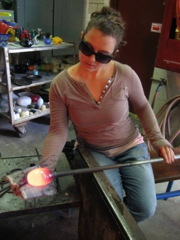 Allison working with hot glass