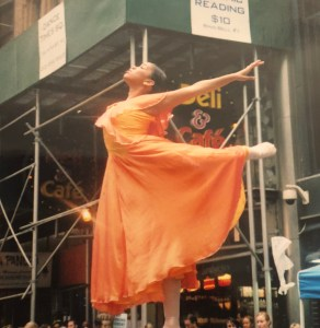 Performing in Time Square in 2004.