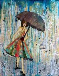 Raining Wisdom mixed media piece