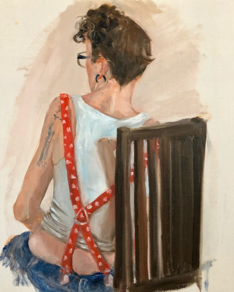 """This is """"Don't Fence me In"""" a Rosie the Riveter piece that depicts a women turning her back on social norms and paving her own path."""