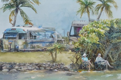 Painting of a vacationing couple at an RV campground