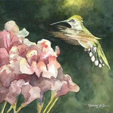Hummingbird painting by Nancy Murphree Davis