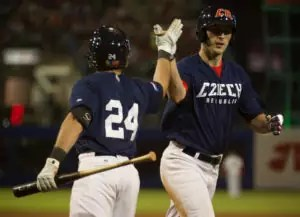 MEXICALI, MEXICO - MARCH 17: Matej Hejma #33 of Team Czech Republic is greeted by teammate Mike Cervenak #24 after hitting a home run during Game 2 of the World Baseball Classic Qualifier against Team Mexico at Estadio B-Air Stadium on Thursday, March 17, 2016 in Mexicali, Mexico. (Photo by Matt Brown/WBCI/MLB Photos via Getty Images) *** Local Caption *** Matej Hejma;Mike Cervenak