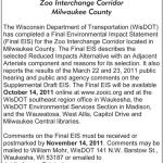 Notice of Final Environmental Impact Statement for the Zoo Interchange Corridor