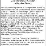 Notice of Final Environmental Impact Statement for the Zoo Interchange Corridor