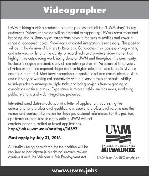 University of Wisconsin – Milwaukee Seeking Videographer