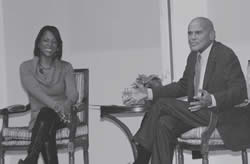 Moderator for the event, Chari Dunn anchor at local station Channel 58 interviews activist, singer and actor Mr. Harry Belafonte who was the featured guest for the YWCA's 9th Annual Promoting Racial Justice Program. (Photo by Robert A. Bell)