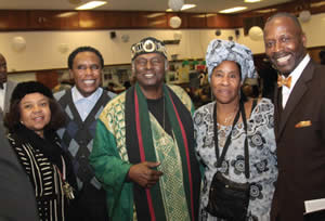 """The 13th Annual """"King Fest"""" was held at the African American Women's Center celebrating the 85th Birthday Celebration for Dr. Martin Luther King, Jr. on Monday, Jan. 20, 2014. Keynote speaker was Dr. Leonard Jeffries. Pictured above from l to r are Josephine Hill, Rev. Johnny Moutry, Dr. Jeffries, Sis. Herrera and Minister William Muhammad. (Photo by Robert A. Bell)"""